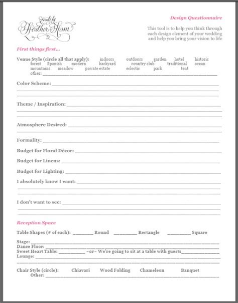 Wedding Planner Questionnaire by Events By Ham Free Stuff Design Questionnaire