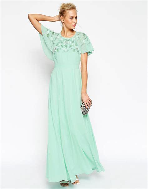 maxi dress with sleeves asos asos embellished flutter sleeve maxi dress at asos