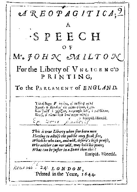 milton reading room areopagitica title page
