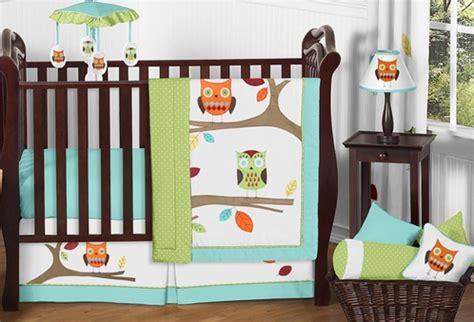 Turquoise And Lime Hooty Owl Baby Bedding 11pc Crib Set Hooty Owl Crib Bedding
