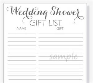 wedding shower gift list template diy wedding shower gift list printable calligraphy script