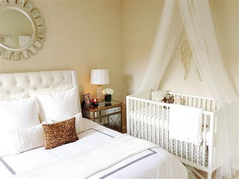 crib in bedroom nursery with tulle crib canopy transitional nursery