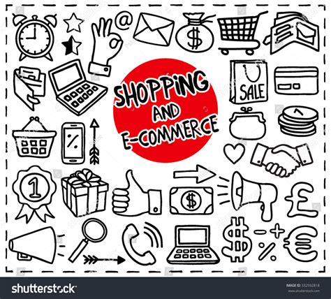 doodle e doodle shopping ecommerce icons set handdrawn stock vector