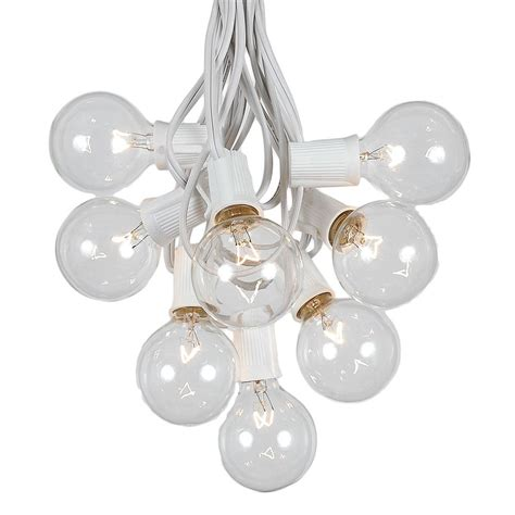 string white lights 100 clear g50 globe string light set on white wire