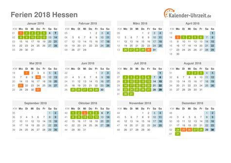 Jahreskalender 2018 Hessen Ferien Hessen 2018 Ferienkalender Zum Ausdrucken