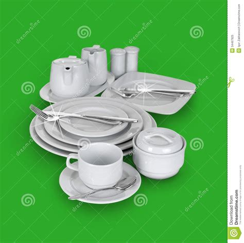 Kitchen Cups And Plates by Kitchen Set Of Cups Plates And Glasses Stock Image