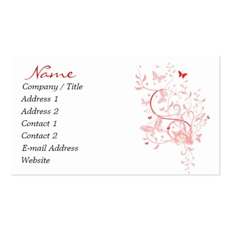 butterfly business card template pink butterfly business cards zazzle