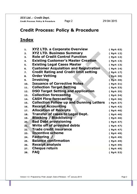 Credit Opinion Format Template Credit Policy And Related Sops Pdf 1