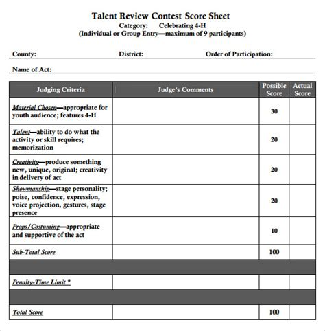 contest template sle talent show score sheet 9 exle format