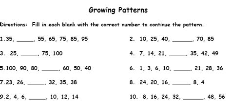 pattern activities grade 5 patterns printable worksheet with answer key lesson