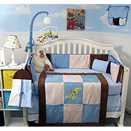 complete nursery bedding sets soho blue and brown suede dinosaur complete nursery bedding set walmart