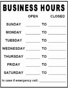 Printable Business Hours Sign Template by Business Hours Sign Template Printable Pdf