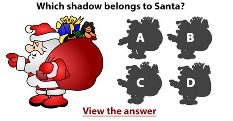 santa riddles do you see which shadow belongs to santa claus