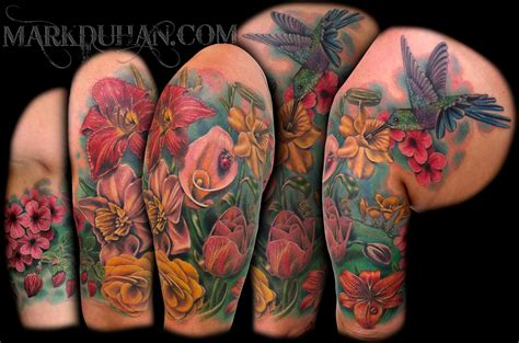 floral half sleeve tattoos flower half sleeve by amduhan on deviantart
