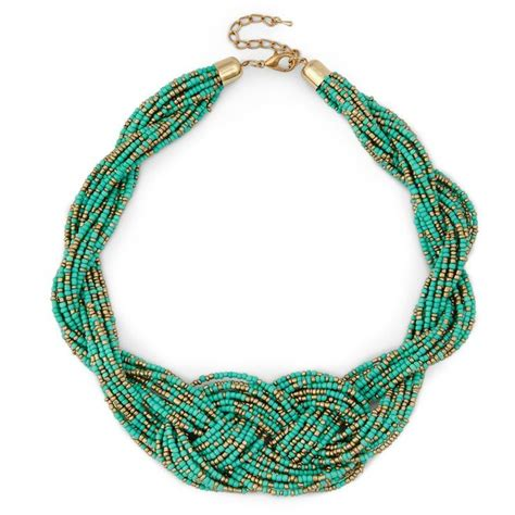 Braided Beaded Necklace Turquoise One Size