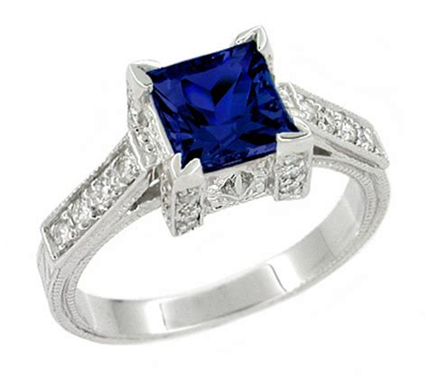 deco 1 carat princess cut blue sapphire and