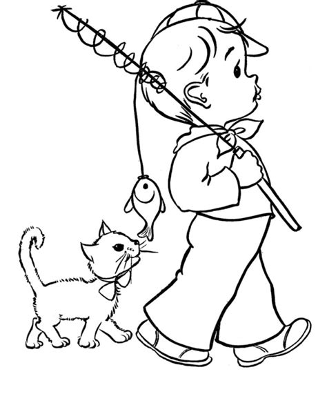 cat boy coloring page cats are following the little boy coloring page kids