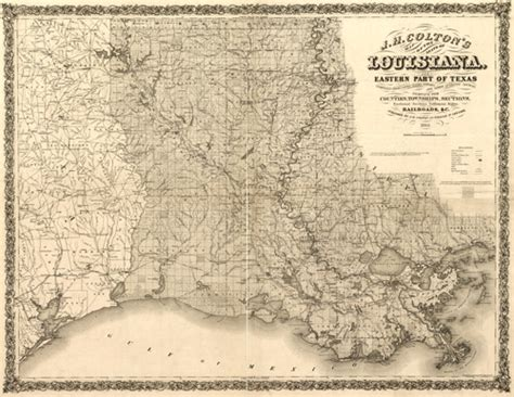 louisiana historical map historic railroad map of louisiana 1863