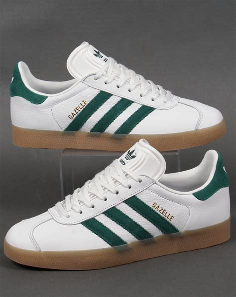 Adidas Gazele adidas gazelle leather trainers white green originals mens