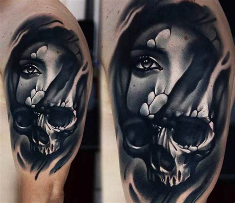 half woman half skull tattoo designs skull by a d pancho best tattoos