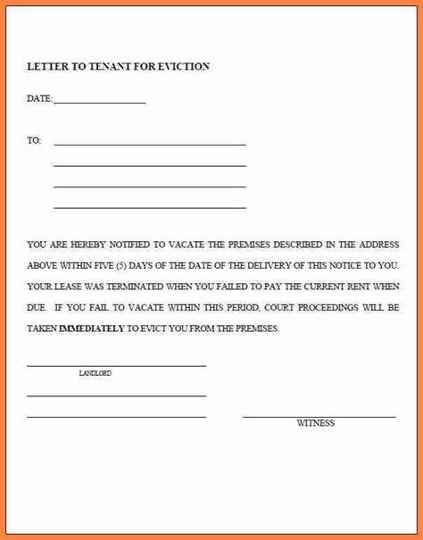 eviction notice form 4 renters eviction notice form notice letter