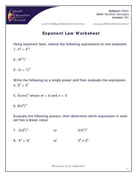 printable math worksheets power rule rules of exponents worksheet lesupercoin printables