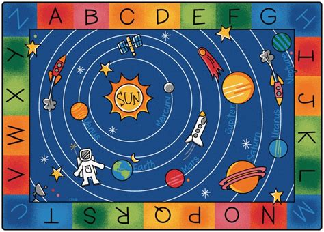 space themed rug play space themed alphabet classroom circle time rug 5 10 quot x 8 4 quot rectangle 5400