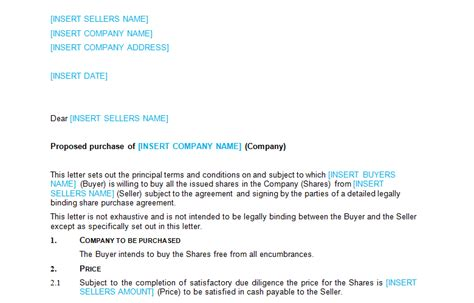 business sale heads of terms with exclusivity template
