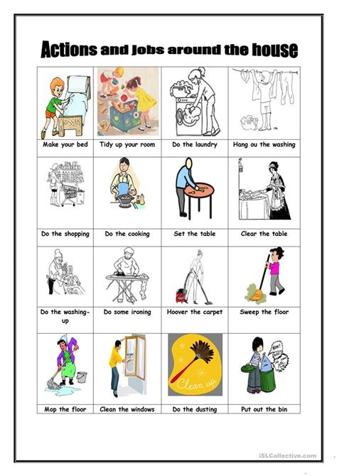 actions and around the house worksheet free esl printable worksheets made by teachers