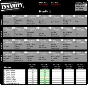 insanity calendar twelwe image