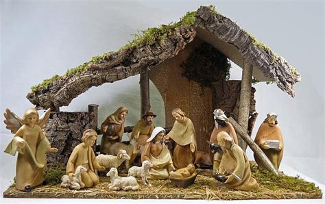 nativity sets with stable crib nativity set 6 inch wood effect figures
