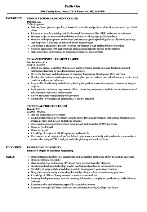 project lead resume format technical project leader resume sles velvet