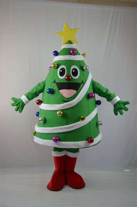 new fancy dress santa claus costumes mascot christmas tree