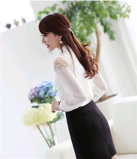 Kemeja Kerja Wanita Lengan Panjang Modis Harga Grosir kemeja putih wanita lengan panjang brokat model terbaru