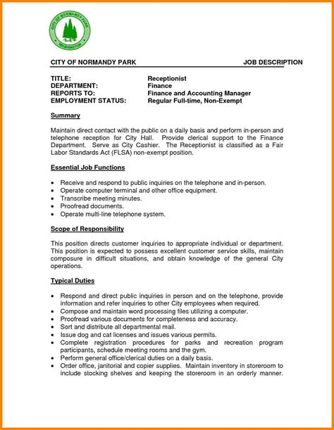 sle resume receptionist duties 8 receptionist description introduction letter