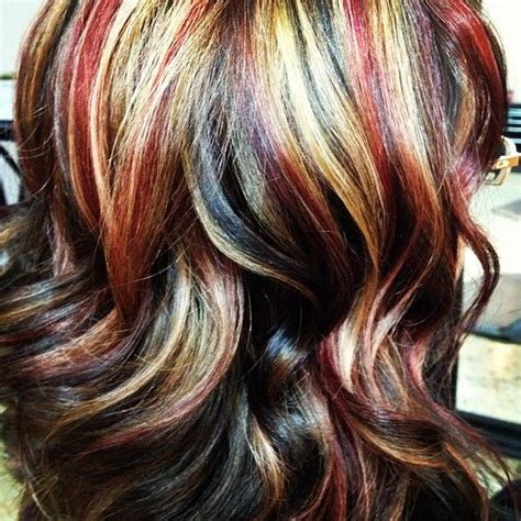 hairstyles with brown copper light brown stripes tri color hd red golden brown and a light mocha blonde