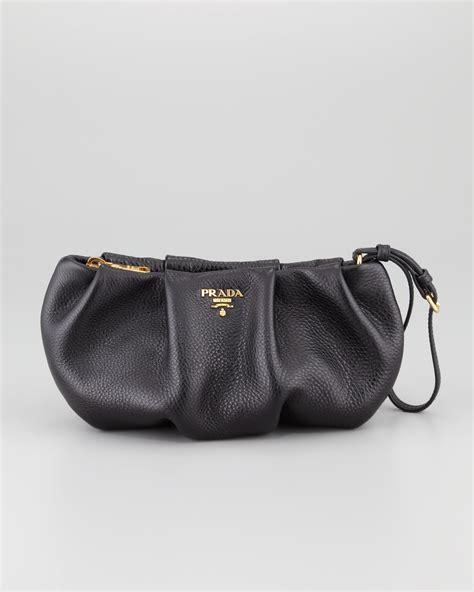 Clutch Bag 1 lyst prada daino pleated wristlet clutch bag in black