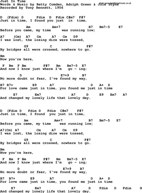 song lyrics in song lyrics with guitar chords for just in time tony