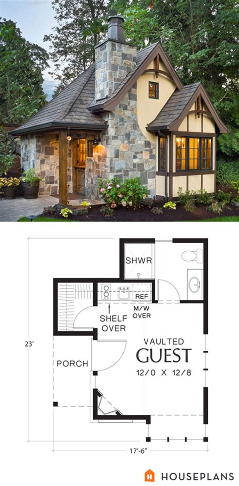 amazing tudor style tiny house and plans