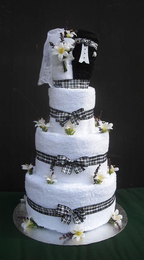Bridal Shower Idea Towel Wedding Cake by Wedding Towel Cake And Groom Wedding Towel Cake