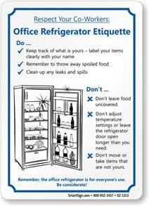 Bathroom Designer office refrigerator etiquette sign sku s2 1313
