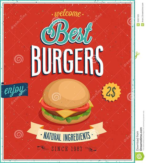 vintage burgers poster royalty free stock photo image