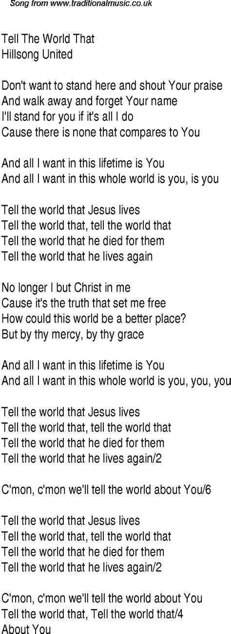 Tell The World That Christian Gospel Song Lyrics And Chords