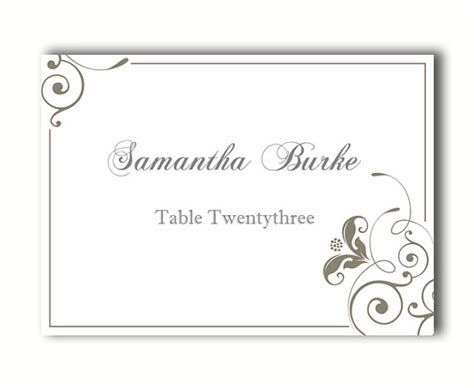 Name Card Template Wedding Tables by Place Cards Wedding Place Card Template Diy Editable
