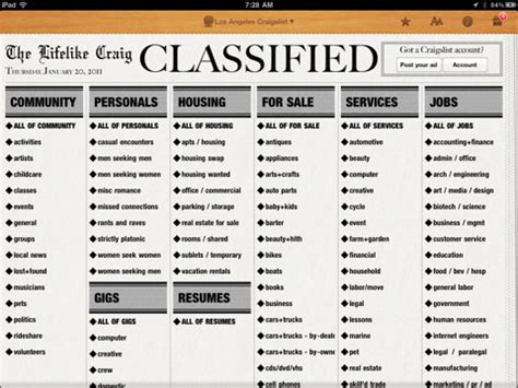 classified section of a newspaper ipad app turns craigslist into a newspaper designtaxi com