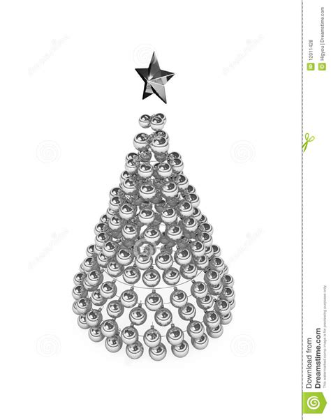 christmas tree silver baubles royalty free stock photos