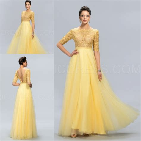 design dress long latest design prom long lace yellow a line evening dress