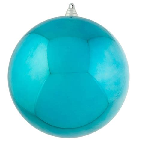 light turquoise baubles shiny shatterproof single 250mm