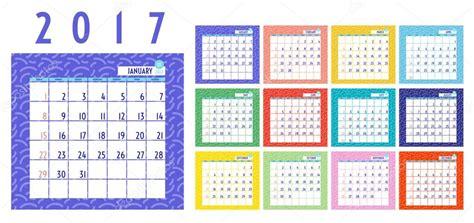 Calendario De Meses Vector De Calendario 2017 A 241 O Calendario De 12 Meses Con