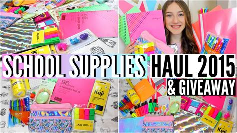 Back To School Supplies Giveaway - back to school supplies haul 2015 giveaway youtube